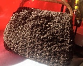 Super cute vintage 60s handmade faux brown persian lamb bag woth gold confetti lucite handles