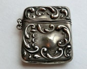 Victorian Sterling Repousse Chatelaine Stamp Holder Vesta Case Wear as Pendant