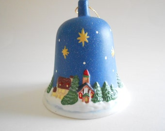 Blue Bell Christmas Bell Village Square Vintage 1986 1996 Porcelain Bell Bell Ornament Christmas Ornament Vintage Bell Collectible Bell