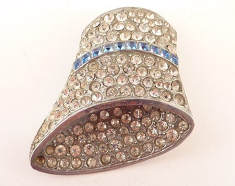 Antique French Silvertone Art Deco Flapper Hat Three Dimensional Rhinestone Dress Clip