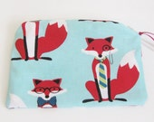 Fox Print Knitting Notions Pouch