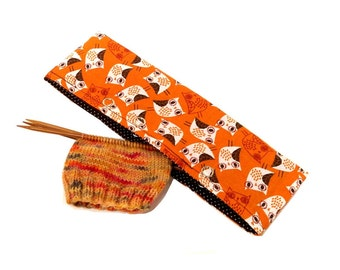 Stitch Holder Point Protector Zipper Pouch Needle Nook - DPN and Circular Project Holder - Fall Owls
