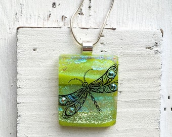 Dragonfly - Fused Glass Pendant - Glass Pendant - Dichroic Glass Jewelry - Fused Glass Necklace