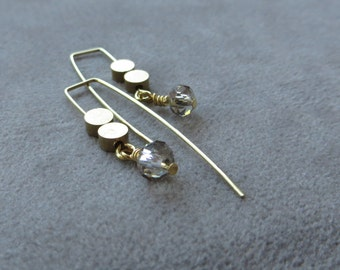 brass disc with gray crystal earrings