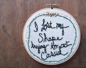 the Crosseyed and Painless hoop ... one of a kind Talking Heads embroidery