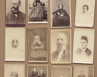 12 Different Antique CDV Photographs 1860-1880 Vintage Historic Photos Lot59