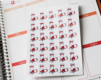 30 Pill Bottles, Planner Stickers, Fits Erin Condren Planner Filofax Kikkik Plum Paper, Planner Stickers