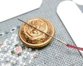 Vintage Brass Button Needle Minder Needle Magnet Altered Upcycled Cross Stitch Hardanger Needlepoint Gadget DIY Crafts Needle Keeper