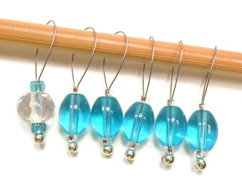 Knitting Stitch Markers Snag Free Aqua Clear DIY Knitting Tools Gift for Knitter Craft Supplies