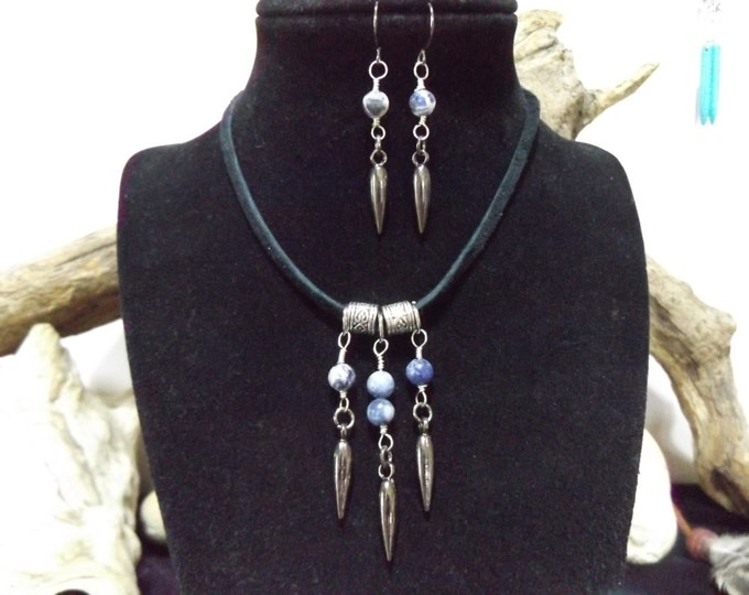 Sodalite, Pendulum, Healing Crystal Jewelry, Energy Jewelry, Sodalite Jewelry, Boho Jewelry Set, Spiritual Healing Jewelry