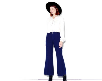 1970s 70s bellbettoms xs small / cropped pants bell bottoms cropped flare pants flare jeans cropped flares navy blue wool pants sailor pants