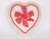 "Vintage Large 13"" Whitman's White Ruffle & Red Flower Chocolate Box"