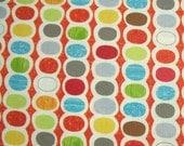 COUPON CODE SALE - Moda, Mod Century, Tangerine, Jenn Ski, 100% Cotton Quilt Fabric, Multicolor Fabric, Polka Dot, Quilting Fabric