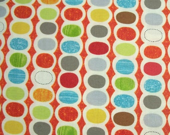 COUPON CODE SALE - Moda, Mod Century, Tangerine, Jenn Ski, 100% Cotton Quilt Fabric, Multicolor Fabric, Polka Dot, Quilting Fabric