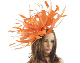 Ostrich - Orange Fascinator Hat  for Weddings, Occasions and Parties on a Headband - Available in 40 Colours