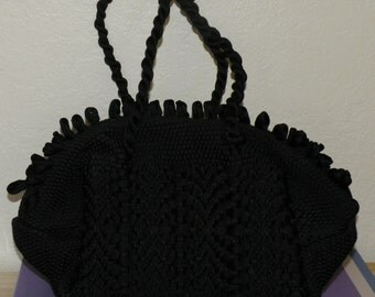 1950s Black Nylon Woven Purse