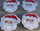 Set of 4 christmas, santa, santa claus Felties Felt Embellishments