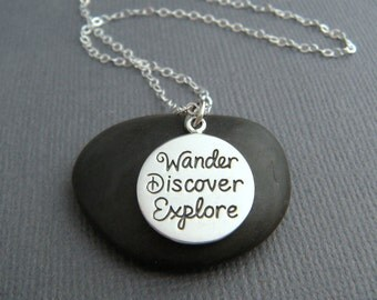 sterling silver wander discover explore necklace small inspirational jewelry travel inspiring quote affirmation word pendant boho charm