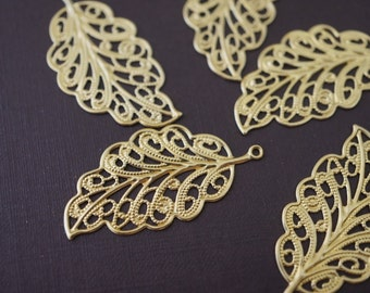 Solid Brass Stamping Filigree Leaf Charm Pendants 34mm x 16mm - 10 pieces
