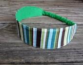SALE Fabric Headband with Elastic: Green Stripe Reversible