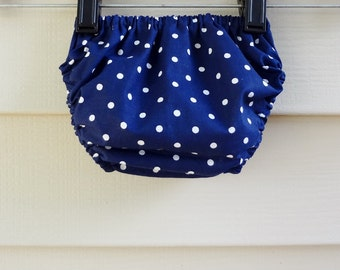 Bloomers 0-6 months Navy Blue and White Polka Dot Diaper Cover