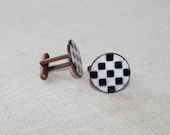 Men's Black and White Checkerboard Cuff Links, Men's Cuff Links, Lucky Penny Cuff Links, Enamel Cuff Links, Gift for Him, Cufflinks