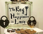 """Guest Book Alternative - Glass Block with """"The Key to a Happiness is Love"""" - May Be Personalized for Free - Paper Locks for messages"""