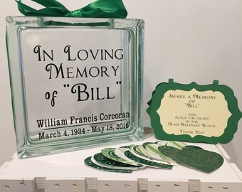 Funeral Glass Memory Block - Unique Guest Book - Personalized - Paper Hearts in Coordinating Colors  - Wake - Memories - Keepsake
