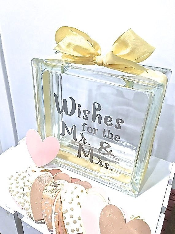 Guest book alternative glass block with wishes for the for Glass block alternatives
