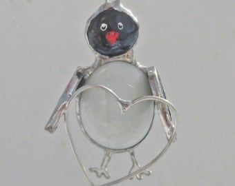 Penguin with Heart Stained Glass Suncatcher