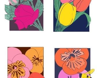 Set of 4 Colorful flower Prints - Blooming - pansy, tulip, rose, bee, Floral art, Floral illustration Print, flower Print, spring art, 8x10
