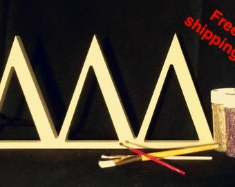 3 connectedunpainted wooden greek letters 1 thick you choose the size and letters free shipping self standing alpha beta chi 99