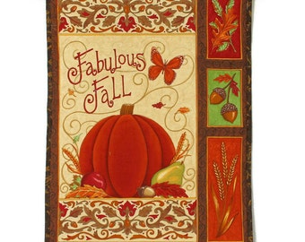 Autumn Quilted Wall Hanging - Fabulous Fall, Orange, Green and Ivory with Pumpkins and Fall Decor, Thanksgiving Decor