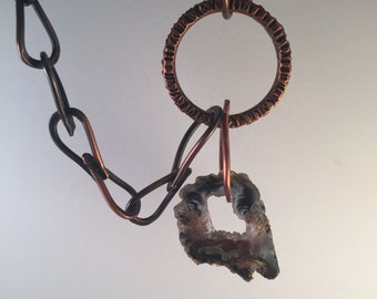Handmade Copper Agate in Circle Chain - OCCO Agate Slice in Circle Copper Necklace
