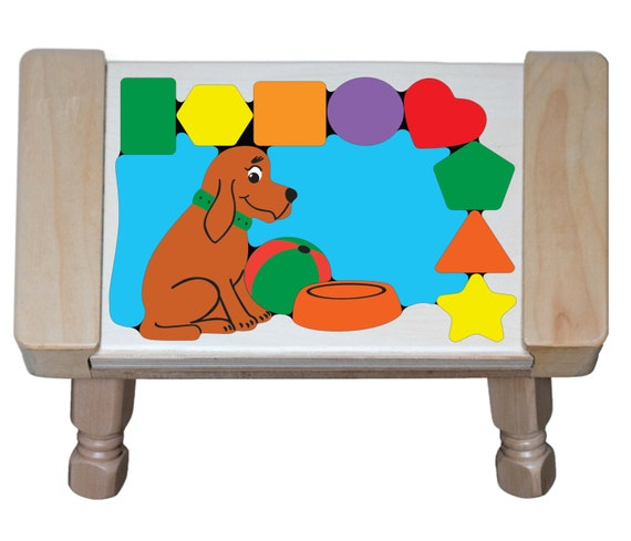 Personalized Name Dog Theme Puzzle Step Stool By