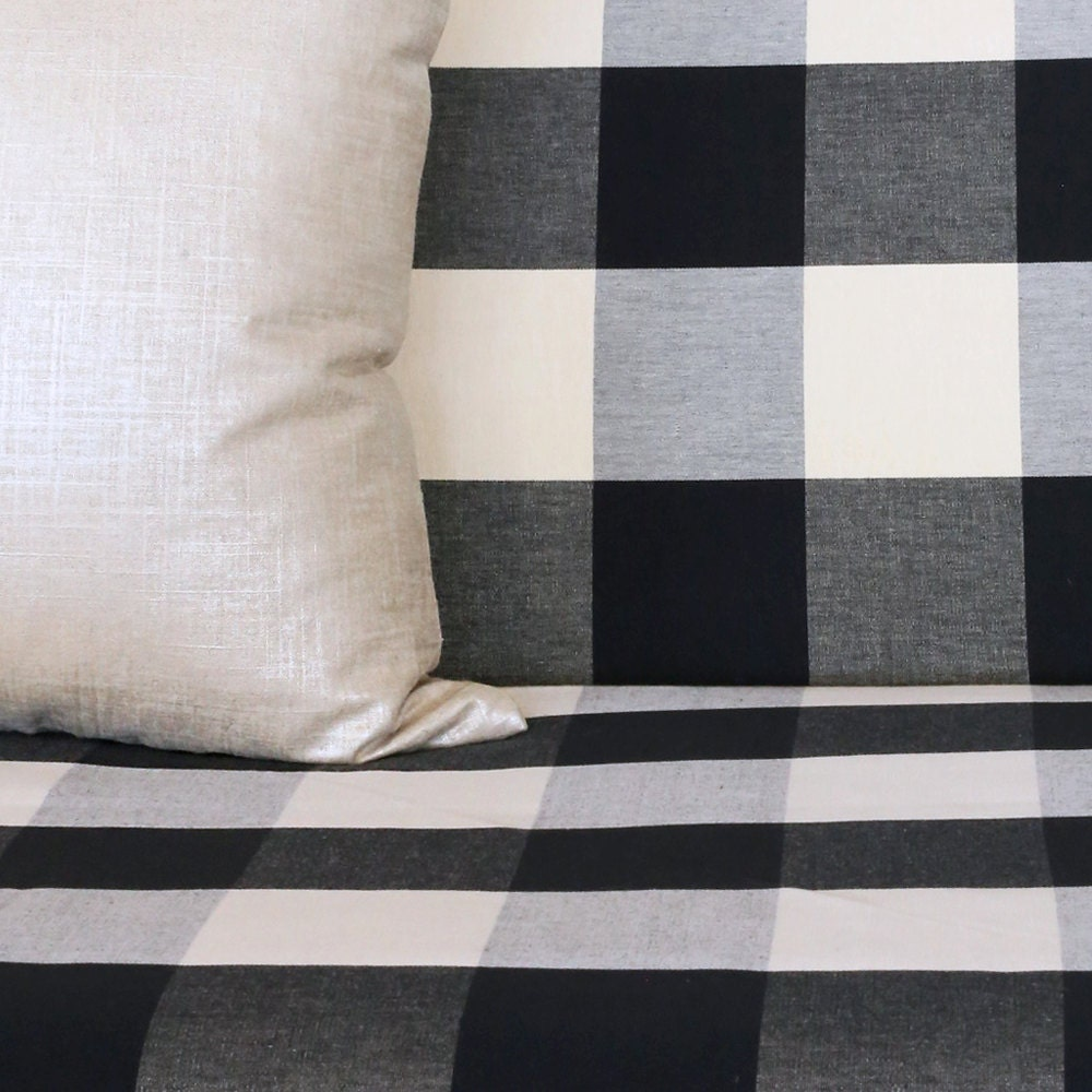 Black Cream Buffalo check futon mattress cover by tonicliving