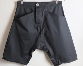 Men's Black Organic Cotton Drop-Crotch Shorts. Minimalist mens fashion clothing. Size 31/32 inch waist pants.