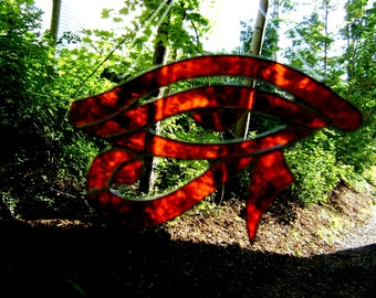 Eye of Ra Stained Glass Egyptian Eye of Horus Pagan Wicca Orange Halloween Yule Christmas Eyes Protection Birthday Original Design©