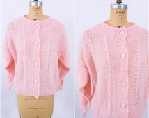 1980s cardigan vintage 80s light pink acrylic button down oversize sweater XL