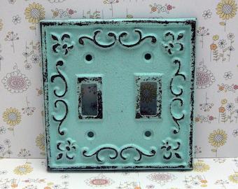 Fleur de lis Cast Iron FDL Light Switch Double Cover Cottage Chic Beach Blue Home Decor