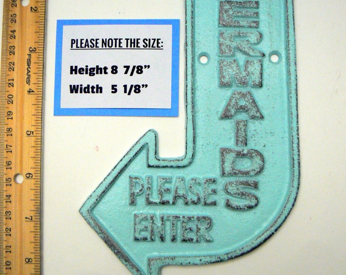 Mermaids Please Enter Cast Iron Sign Beach Blue Shabby Chic Cottage Chic Nautical Home Decor