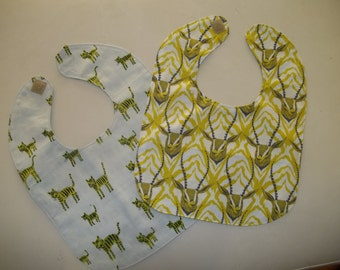 Baby Bib Set of 2 Animal Modern Woodland Blue & Green Baby Boy Bib