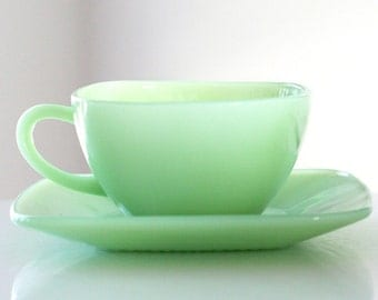 Fire King (Stamped) Jadite Jadeite Charm Cup and Saucer