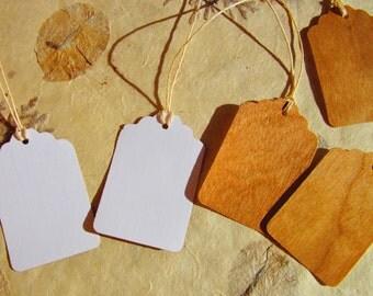 Cherry Veneer Hang Tags, Wood Tags, Blank Tags, Wood Veneer Tags with Strings, Gift Wrap, Wedding Decor, Christmas Tags