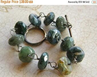 Summer Sale Moss Agate Bracelet, Chunky Green Bracelet, Boho Bracelet, Rustic Bracelet
