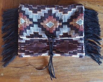 Upcycled Boho Brocade Ethnic Southwest Print Horn Suede Tassel Fringe Purse Clutch