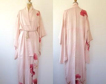 vintage kimono / vintage kimono robe / Lotus Flower kimono