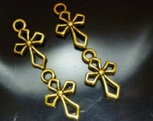 4 Geometric antique Gold Cross Charms 4