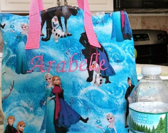 Frozen Elsa and Anna Child Tote / School Tote / Book Travel Bag / Overnight Bag / Embroidered with Childs name