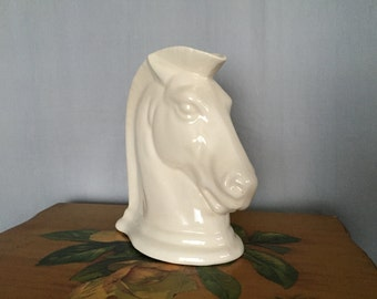 Horse Head Vase Planter Vintage White Ceramic Chess Piece Knight 8.5in